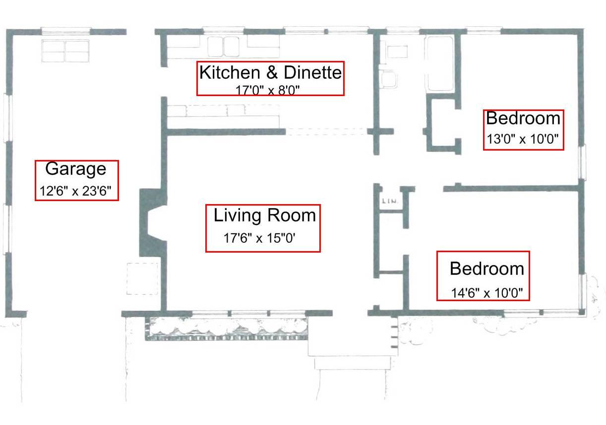 带标签房间的建筑蓝图